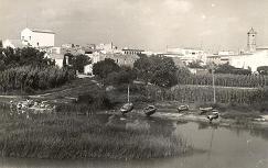 Vista del riu i del poble. Cap al 1950.